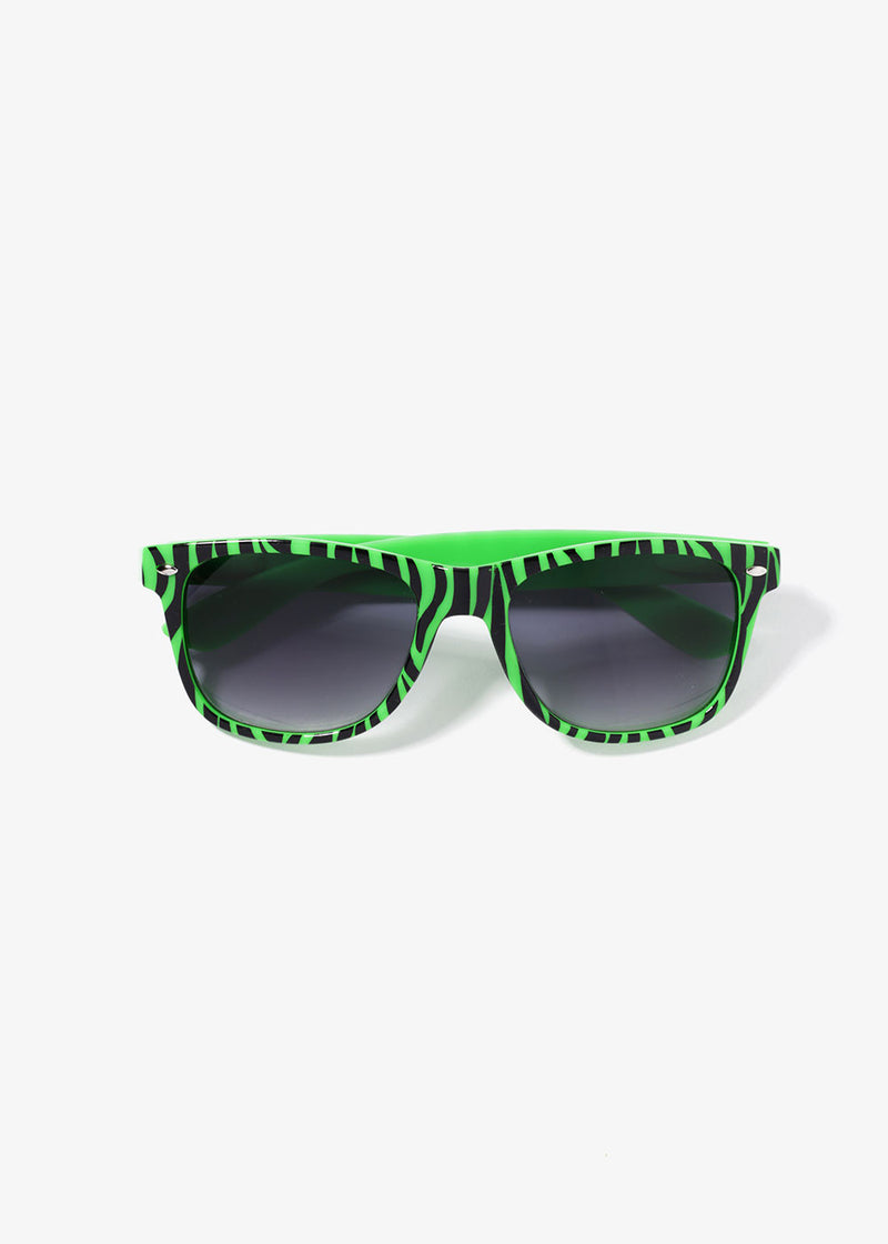 Zebra Print Sunglasses- Green