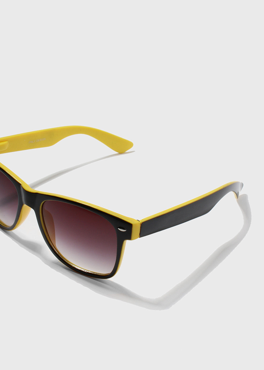 Two-Tone Square Sunglasses- Yellow