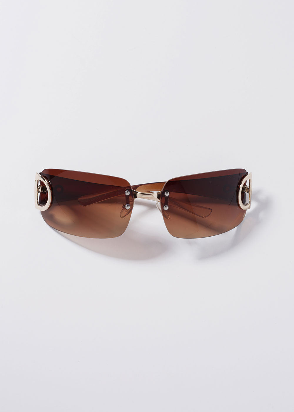 Rimless Design Sunglasses- Brown/Gold