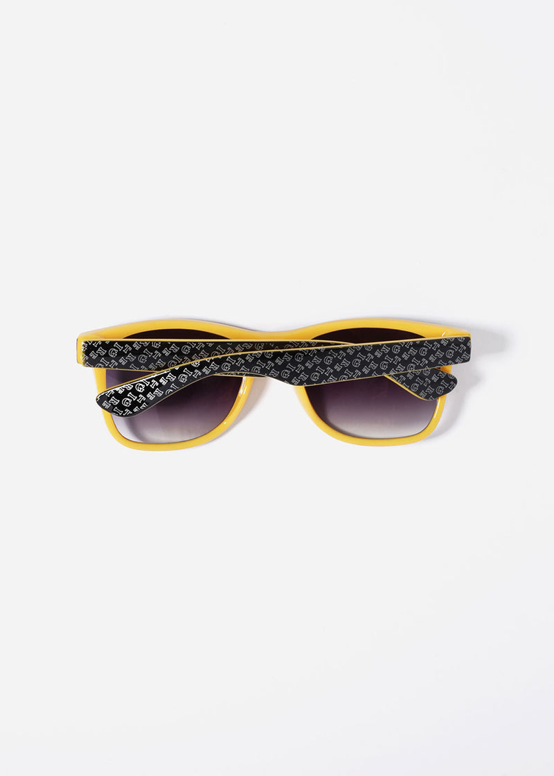 Two-Tone Letter Print Sunglasses- Yellow