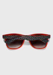 Two-Tone Letter Print Sunglasses- Red
