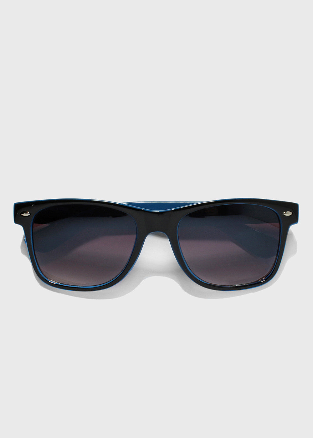 Two-Tone Letter Print Sunglasses- Blue