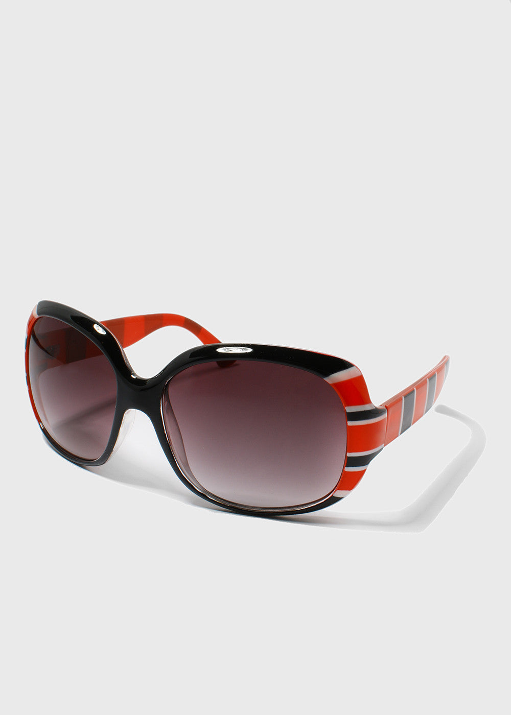 Striped Print Sunglasses- Red/Black