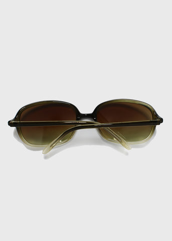 Modern Square Frame Sunglasses- Brown/Clear
