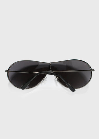Metal Rimless Design Aviator Sunglasses- Gunmetal