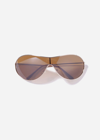 Metal Rimless Design Aviator Sunglasses- Brown