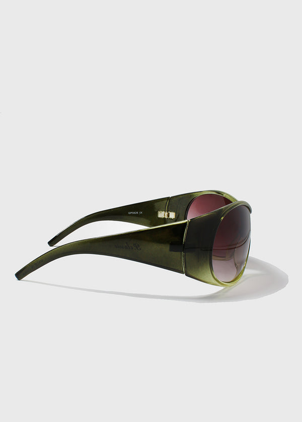 Oversize Round Sunglasses- Green
