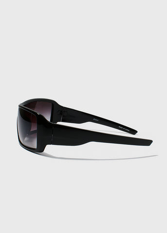 Oversize Square Sunglasses- Black/Clear