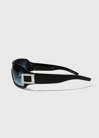 Rectangle Chrome Detail Sunglasses- Black