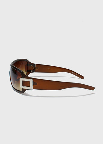 Rectangle Chrome Detail Sunglasses- Brown