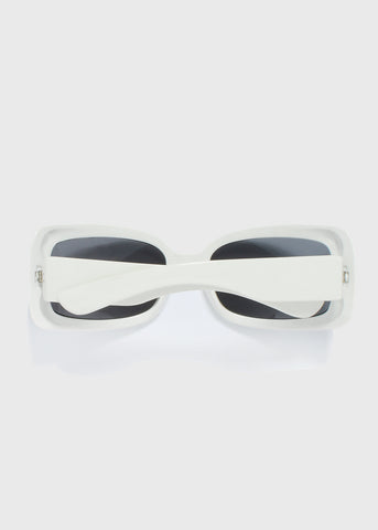 Chic Rectangle Sunglasses- White