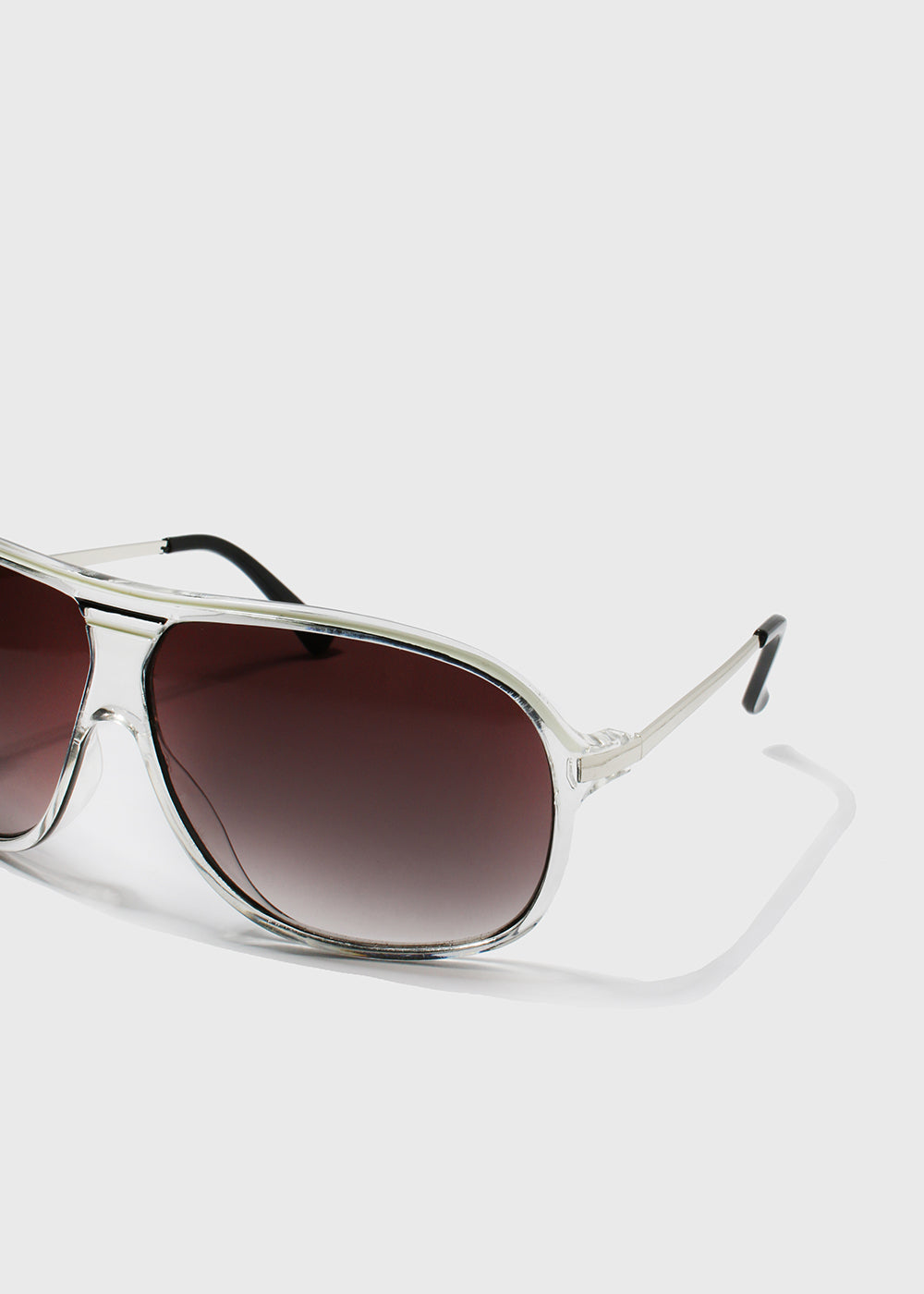 Clear Frame Aviator Sunglasses- White