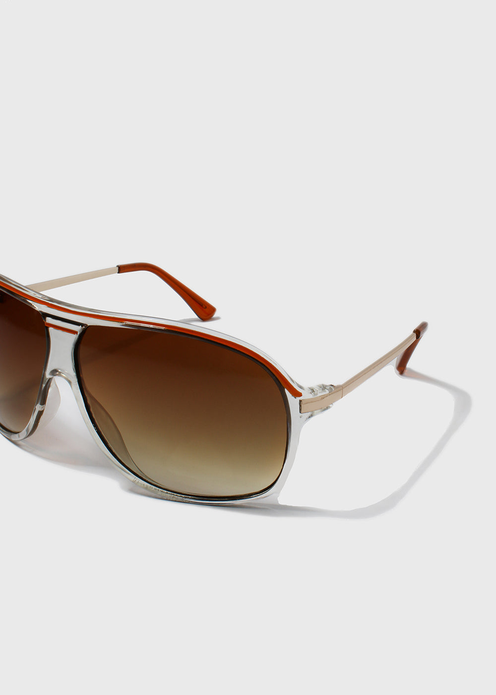 Clear Frame Aviator Sunglasses- Orange