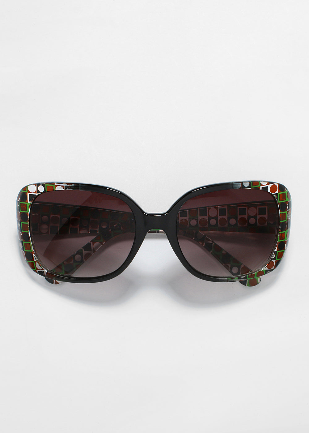 Retro Circle Print Sunglasses- Green