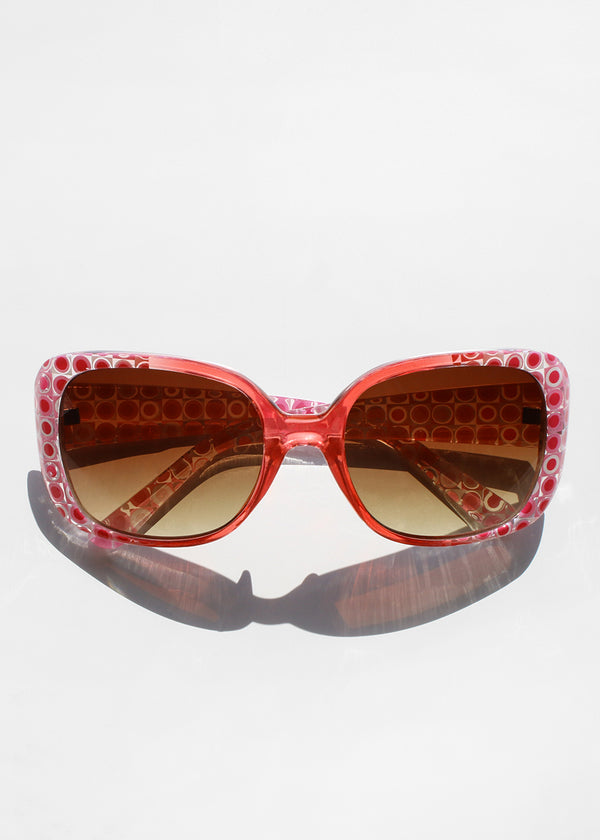 Retro Circle Print Sunglasses- Pink