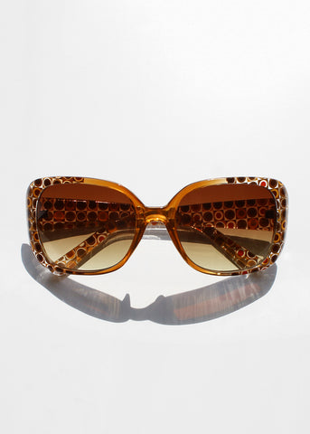 Retro Circle Print Sunglasses- Brown