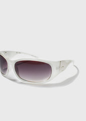 Silver Flame Sunglasses- White