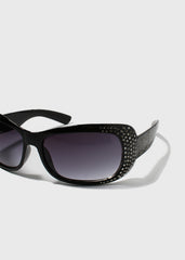 Black Rhinestone Studded Sunglasses
