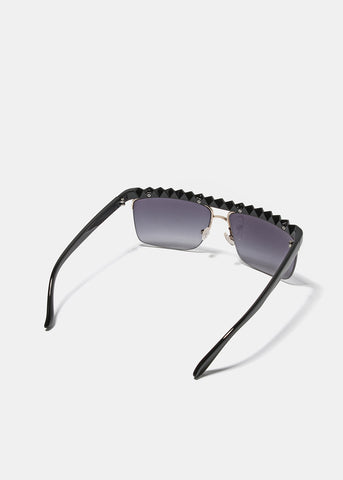 Black Zigzag Rimless Sunglasses