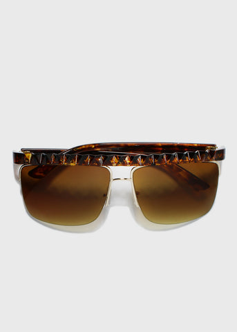 Brown Zigzag Rimless Sunglasses