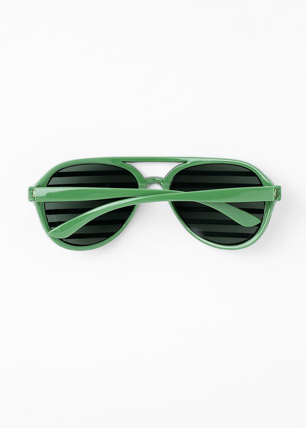 Striped Rhinestone Sunglasses- Green