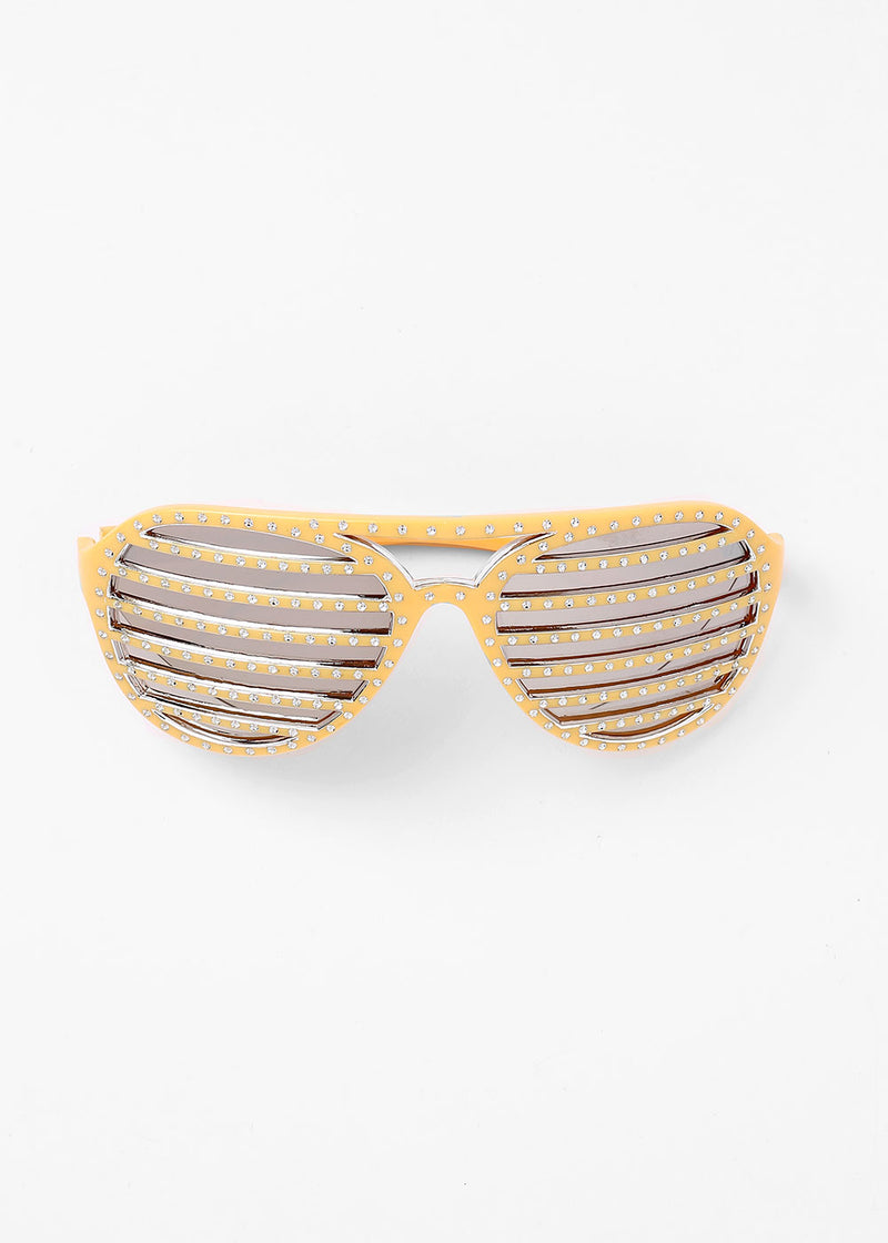 Striped Rhinestone Sunglasses- Yellow