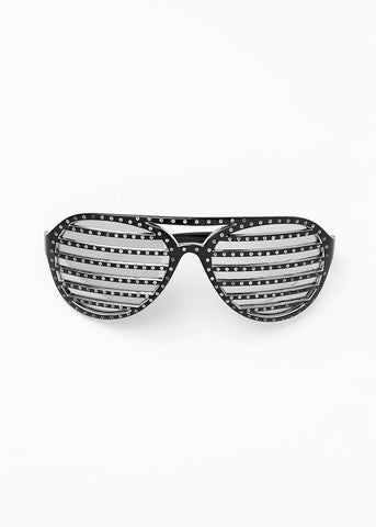 Striped Rhinestone Sunglasses- Black/Silver