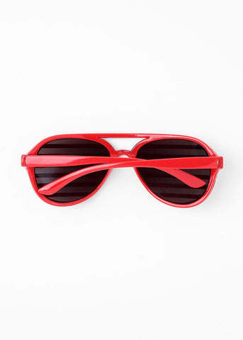 Striped Rhinestone Sunglasses- Red