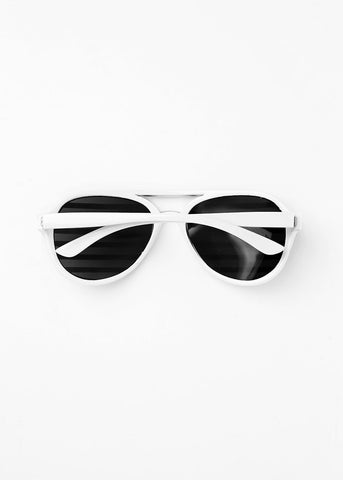 Striped Rhinestone Sunglasses- White/Silver