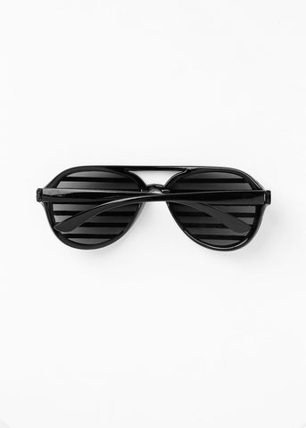 Striped Rhinestone Sunglasses- Black