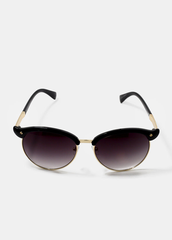 Winged Round Sunglasses