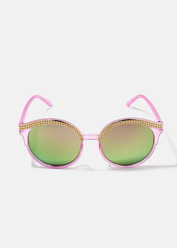 Round Gold Rim Sunglasses