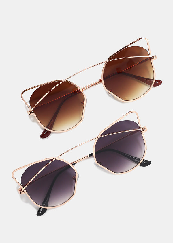 Rose Gold Wire Cat Eye Sunglasses