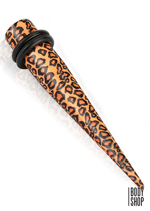8G- Printed Leopard Skin Solid Acrylic Taper with O-Rings
