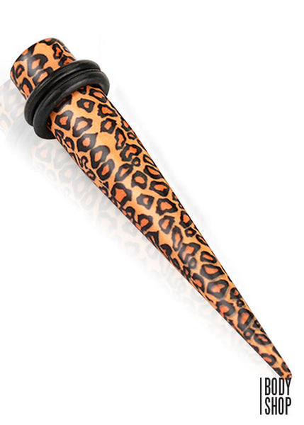6G- Printed Leopard Skin Solid Acrylic Taper with O-Rings