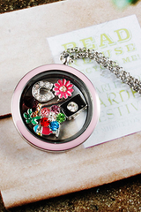 Pink Twist Circle Locket Necklace- LARGE