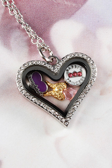 Silver New Heart Crystals Locket Necklace