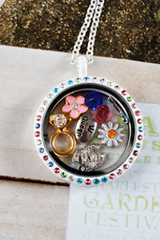 White Circle Mix Crystals Locket Necklace- LARGE
