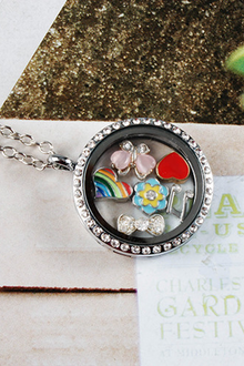 Silver Circle Crystals Locket Necklace-LARGE