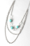 Layered Bead and Chain Necklace