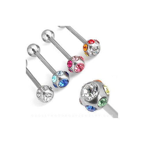 7-Gem Surgical Steel Barbell - Rainbow