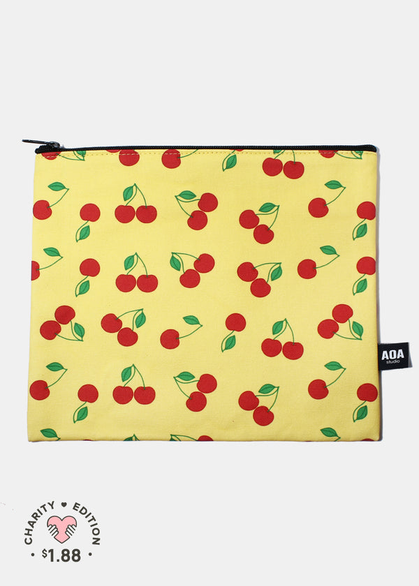 A+ Large Canvas Pouch - Red Cherry