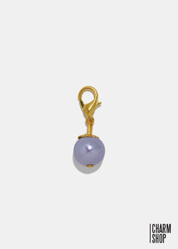 Gold Tone Light Purple Pearl Dangle Charm