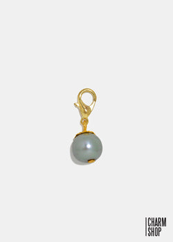 Gold Tone Gray Pearl Dangle Charm