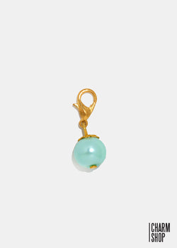 Gold Tone Light Blue Pearl Dangle Charm