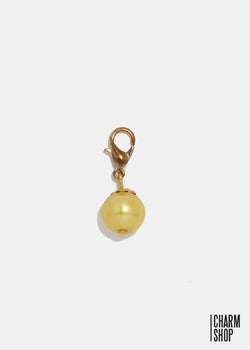 Gold Tone Gold Pearl Dangle Charm