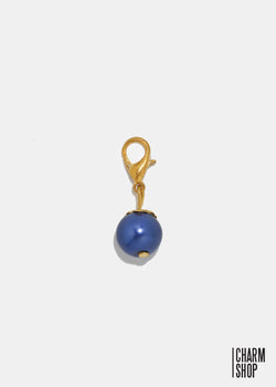 Gold Tone Navy Pearl Dangle Charm