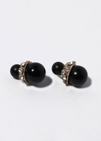 Rhinestone Accented Ball Double-Sided Earrings