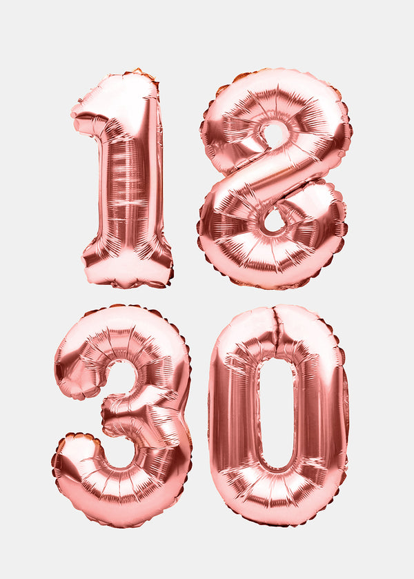 OKI Party Balloons- Rose Gold Numbers