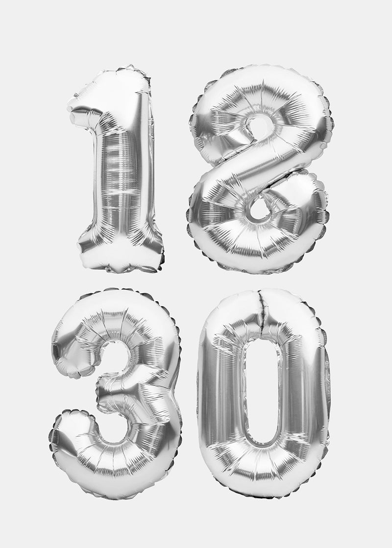 OKI Party Balloons- Silver Numbers